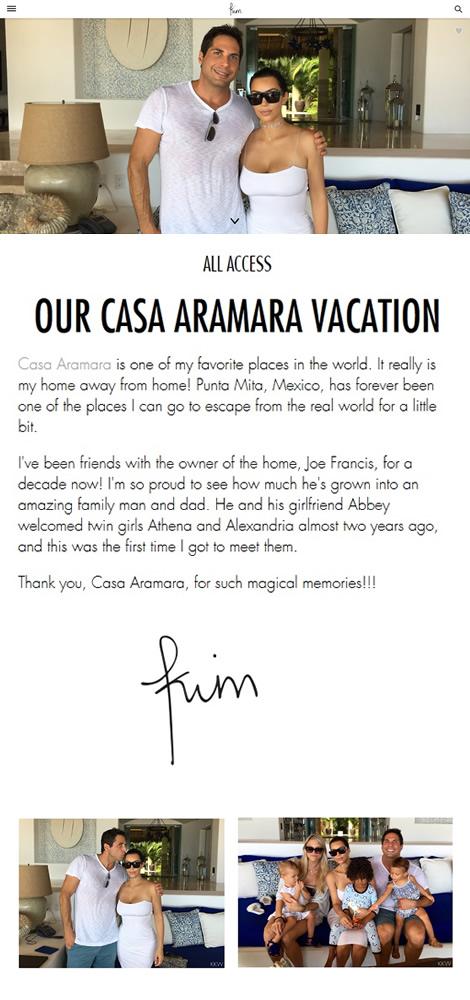 Kim Kardashian's Casa Aramara Vacation