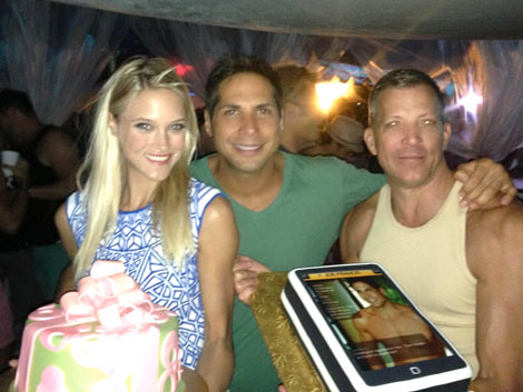Joe Francis and Abbey Wilson celebrate their birthdays with David Cooley